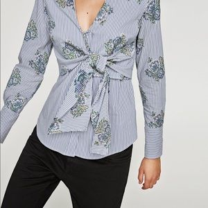 Zara Striped Floral Embroidered Tie Front Blouse